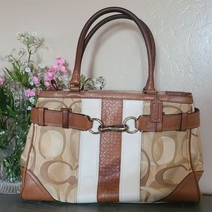 EUC Tan /White Coach Bag